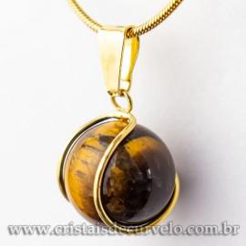 Pingente Bolinha Olho de Tigre Envolto Pedra Montagem Dourada