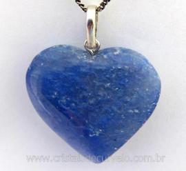 Pingente Coração Pedra Quartzo Azul Natural Castoação Prata 950 Pino e Perinha