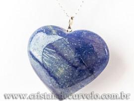 Pingente Coração Gigante Quartzo Azul Pino Prata 950 112569