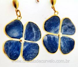Brinco Trevinho da Sorte Pedra Quartzo Azul Pino Tarracha Banho Ouro Flash