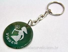 Chaveiro de Agata Verde Signo VIRGEM Pintado Pedra Natural de Garimpo