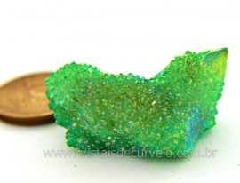 Drusa Crystal Aura Apple ou Maça Verde Bruta natural Cod AA7468