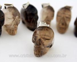 Pingente Caveira ou Cranio de Pedra Fume Natural Montagem Prateada