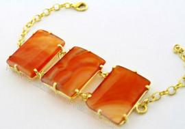 Bracelete 03 Pedras Agata Cornalina Lapidação Retangular Cabochão Dourado REFF 52.4