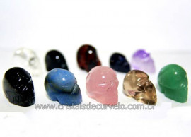 10 Mini Crânios Mistos Esculpidos em Pedras Naturais (Não Pingente SEM FURO - ATACADO)