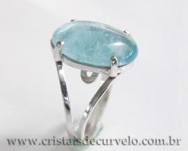 Anel Pedra Topazio Azul Oval Liso Prata 950 Ajustavel