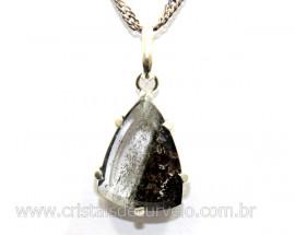 Pingente Facetado Cristal com Lodolita Prata 950 Cod PL1455