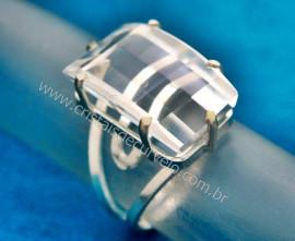 Anel Prata 950 Pedra Cristal Lapidação Retângulo Facetado Montado em Prata de Lei Ajustavel Reff 48.7