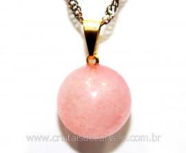 Pingente Bolinha Pedra Quartzo Rosa Pino Dourada