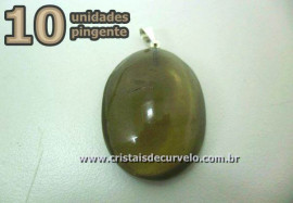 10 Pingente Cabochão QUARTZO FUMÊ Pedra Natural Pino Banho Prata