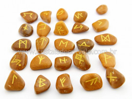 Jogo de Runas Alfabeto Antiga Europa Viking 25 Pedras Natural Jaspe Amarelo