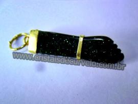 Figa Pingente Mineral Pedra Estrela Verde Castoação Banho Ouro Flash Amuleto da Sorte