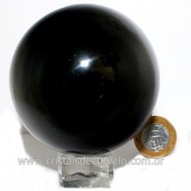 Esfera Obsidiana Negra Pedra Lava Vulcanica Natural 12626