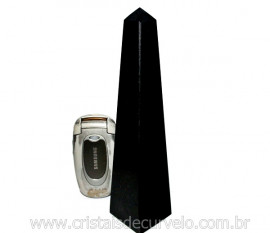 Obelisco Quartzo Preto Pedra Natural de Garimpo Lapidação Manual Cod 500.5