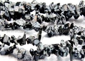 Fio Obsidiana Flocos de Neve Cascalho Furado a Laser Pedra Natural Furado 90cm