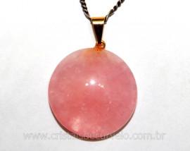 10 Pingente Disco Cabochão QUARTZO ROSA Pedra Natural Pino Dourado