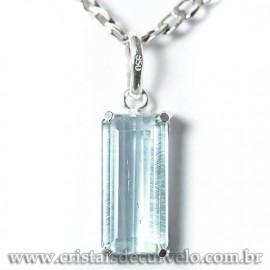 Pingente Baguette Facetado Topazio Azul Prata 950 Garra 125177