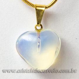 Pingente Mini Coração Pedra da Lua Montagem Dourado 112915