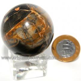 Bola Onix Preto Pedra Natural Lapidado Artesanal Cod 118736