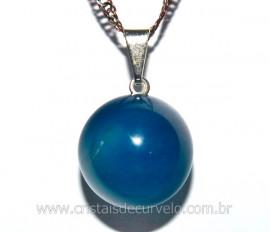 Pingente Bolinha Pedra Agata Azul Pino Prateado