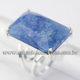 Anel Pedra Quartzo Azul Prata 950 Facetado Aro Ajustavel 113044