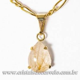 Mini Pingente Gota Rutilo no Cristal Natural Garra Dourado