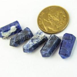 05 Micro Pontinha Cristal Sodalita Azul 15mm pra montar joias