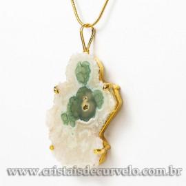 Pingente Flor de Ametista Pedra Natural Garra Dourado 112928