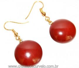 Brinco Cabochão Jaspe Vermelho Anzol Dourado Reff 108016