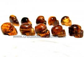 10 Mini Crânios Esculpidos em Pedra Natural OLHO DE TIGRE  (Não Pingente ATACADO)