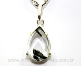 Pingente Facetado Cristal com Lodolita Prata 950 Cod PL1456