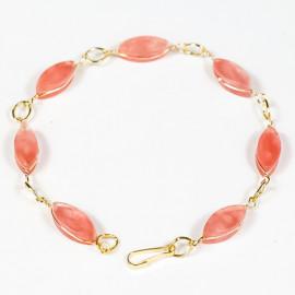 Pulseira Navete Pedra Quartzo Cherry Ranhurado Elo Dourado 113118
