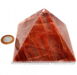 Pirâmide GRANDE Pedra Aragonita Vermelha Natural Queops 119025