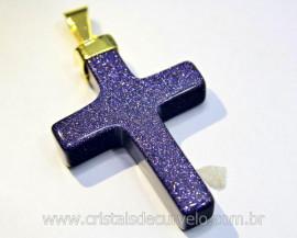 Crucifixo Pedra Estrela Pingente Cruz  Montagem Envolto Banho Flash Dourado