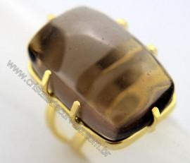 Anel Quartzo Fume Cabochão Retangular Pedra Natural Montagem Flash Dourado Aro Ajustavel