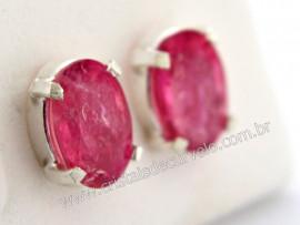 Brinco Prata 950 Pedra Turmalina Rosa Oval Facetado Trava Tarracha