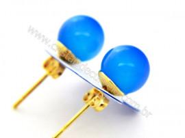 Brinco Bolinha Pedra Agata Azul Pino Tarracha Banho Ouro Flash Dourado