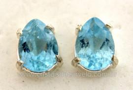 Brinco Prata 950 Pedra Topazio Azul Gota Facetado Trava Tarracha REF 21.5