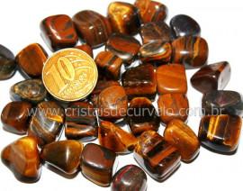 Olho de Tigre Tamanho Medio Rolado Pacotinho 100Gr Boa Qualidade Pedra De Garimpo