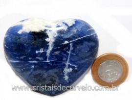 Coração Sodalita Pedra Azul Natural de Garimpo Cod 121278
