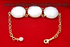Bracelete 03 Pedras Quartzo Leitoso Lapidação Cabochão Disco Dourado Cod 35.6