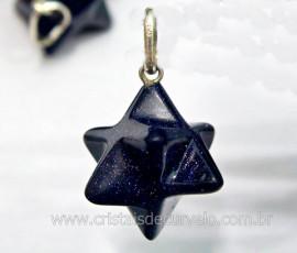 Merkabah Pedra Estrela Azul Extra Pingente Argola Pino Prata 950