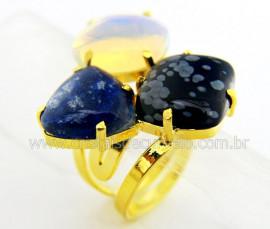 Anel 3 Pedras Misto Cabochao Aro Ajustavel Dourado cod AM9386