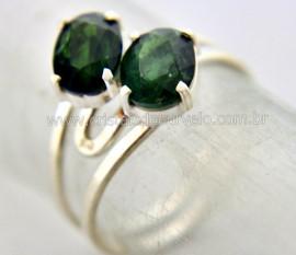 Anel 2 Pedras Turmalina Verde Extra Gemas Facetado Prata 950 Aro Ajustavel Reff 13.4