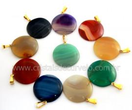 10 Pingente Disco Pedra Agata Mista Dourado ATACADO REFF PD6381