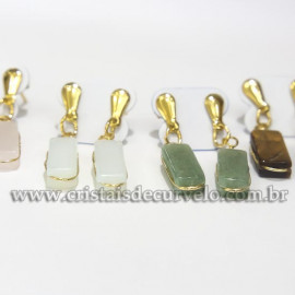 05 Brinco Pedras Mistas Retangulo Ranhurado Flash Dourado ATACADO