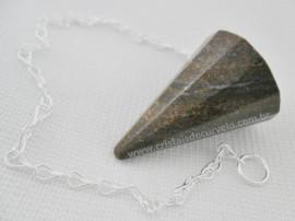 Pendulo BRONZITA Pedra Natural P Radiestesia Lapidação Facetado Brinde Corrente