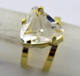 Anel Cristal Facetado Trillion Pedra Natural de Garimpo Banho Dourado Aro Ajustavel REF 22.7