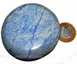 Massageador Disco Quartzo Azul Pedra Natural Cod 103309