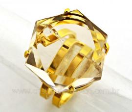 Anel Estrela de Davi ou Selo de Salomao Cristal Tok Fume Dourado REFF AE3370